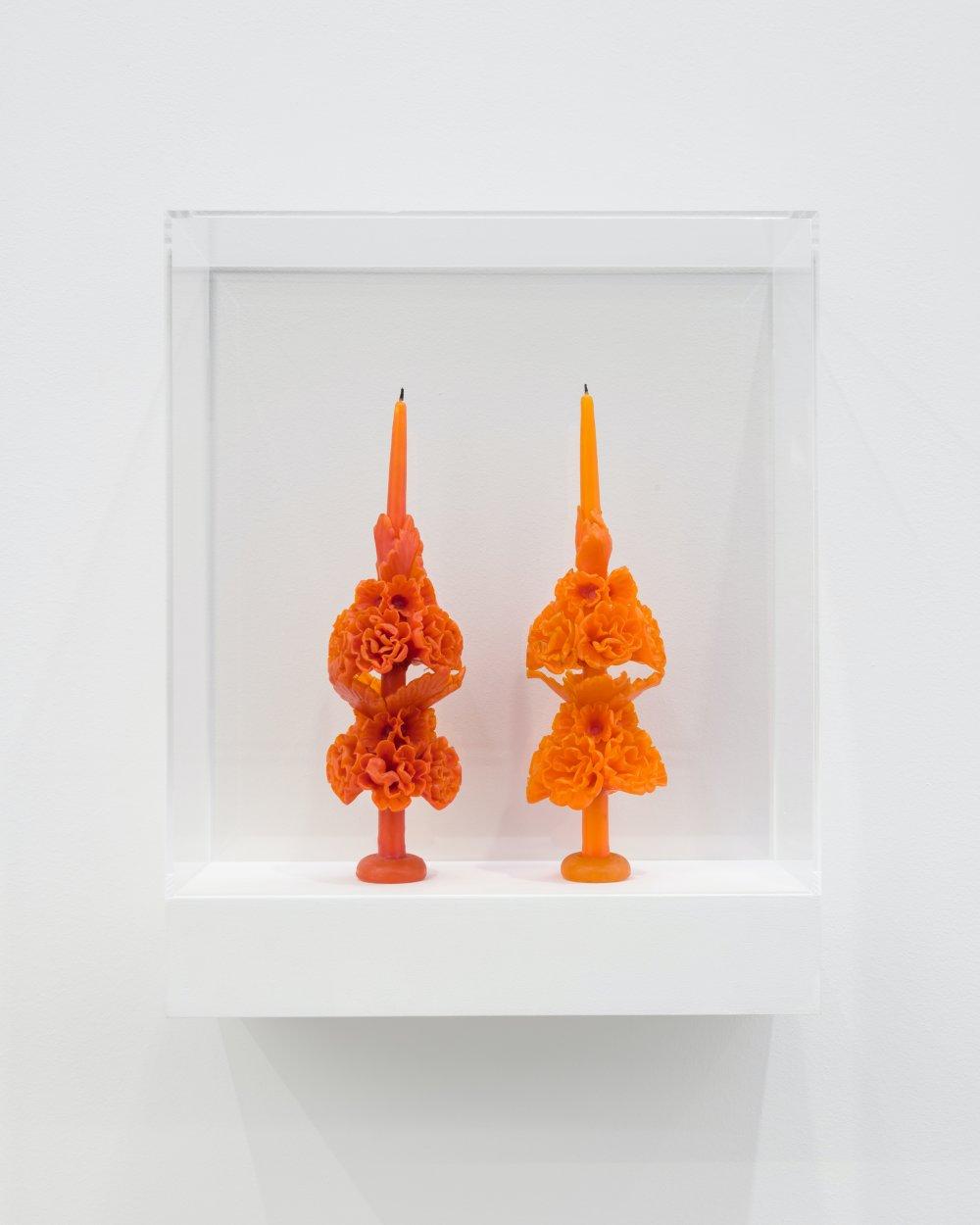 votive candles on shelf