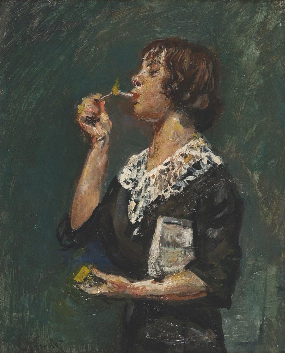 Kvinne som tenner en sigarett [Woman Lighting  A Cigarette]