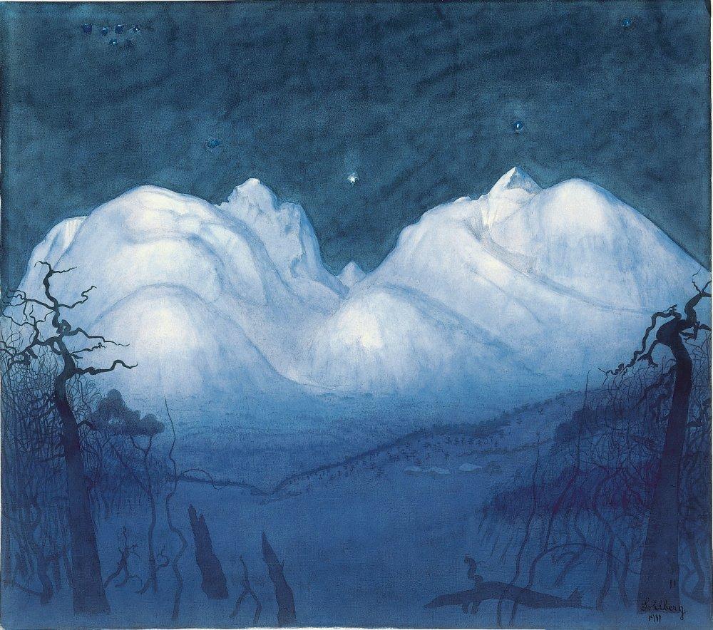 Vinternatt i fjellene [Winter Night in the  Mountains]