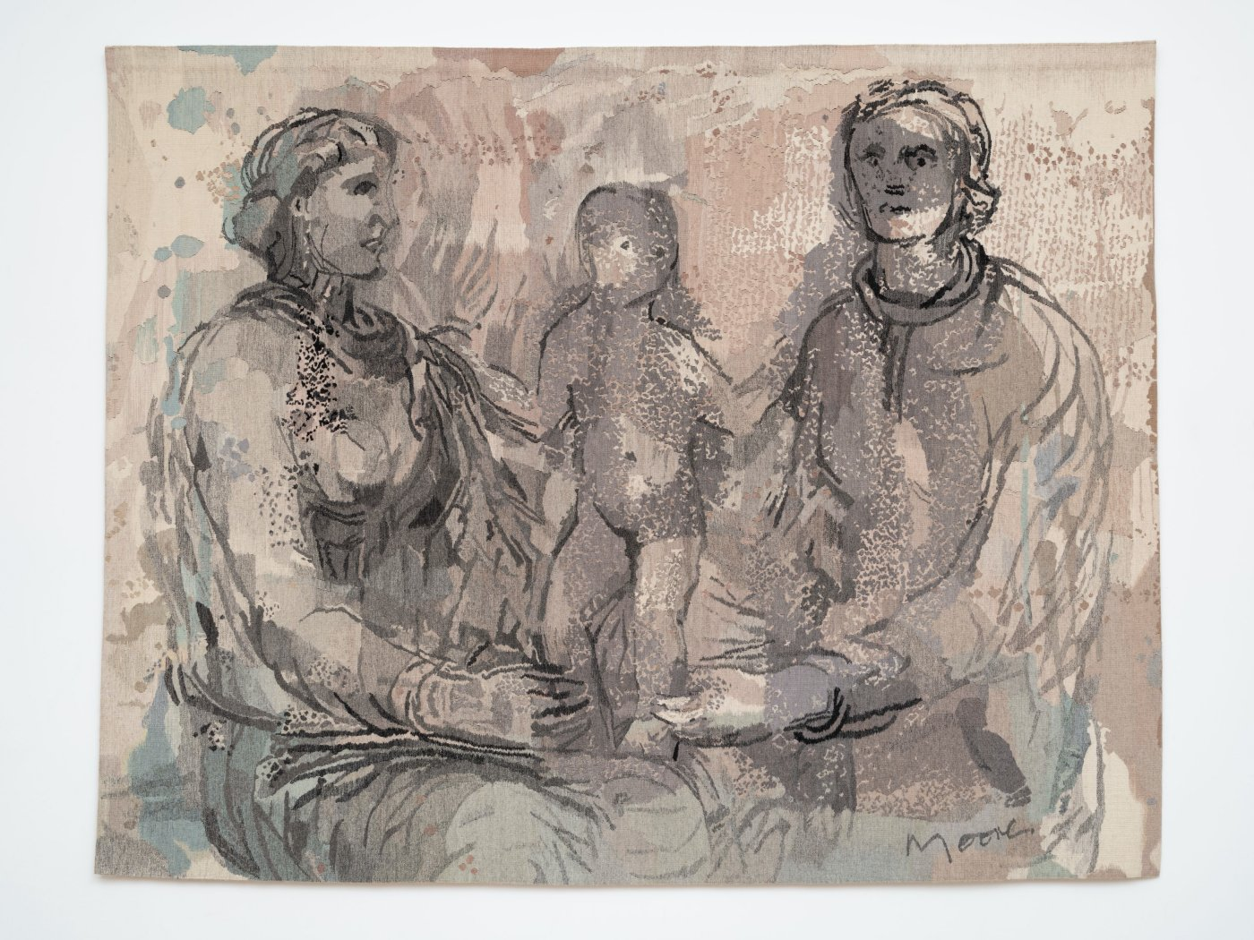 Two Seated Women and a Child