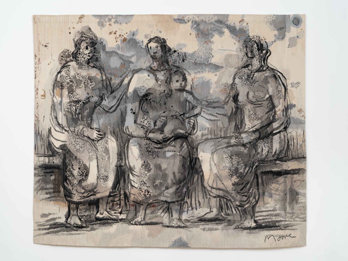 Three Seated Women with One Child